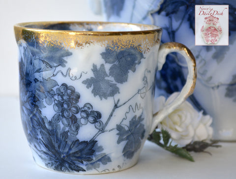 Antique  Staffordshire Aesthetic Movement Flow Blue Lustre Transferware Shaving / Bathroom Mug Grape Vines