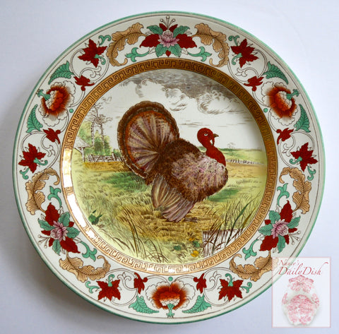 Wedgwood Circa 1903 Enameled Clobbered Antique Transferware Turkey Plate