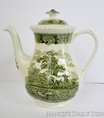 Vintage Green Transferware Coffee Pot Teapot Horses / Mare & Foal Vintage English Roses Cottage