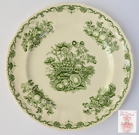 Vintage English Green Transferware Dinner Plate Basket of Fruits & Foliage