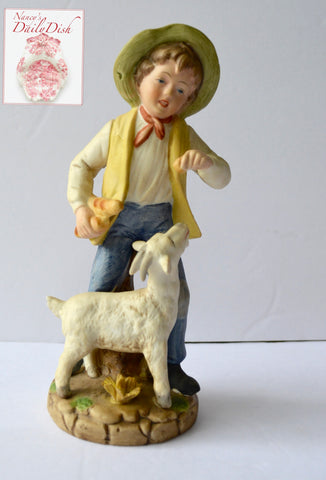 Vintage Peasant Boy w/ Bread Feeding Billy Goat Figurine French / English Country