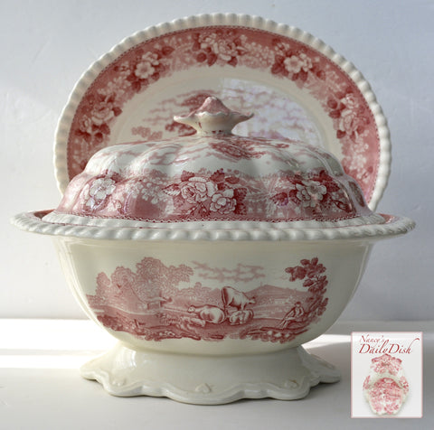 Large Pink / Red Transferware Soup Tureen Grazing Cattle Cows Sheep Horses Billy Goats w/ Rose Thistle Shamrock Border English Scenic