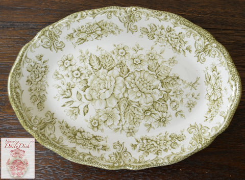 Vintage Sage / Olive Green Transferware Relish Tray Small Platter Roses Daisies