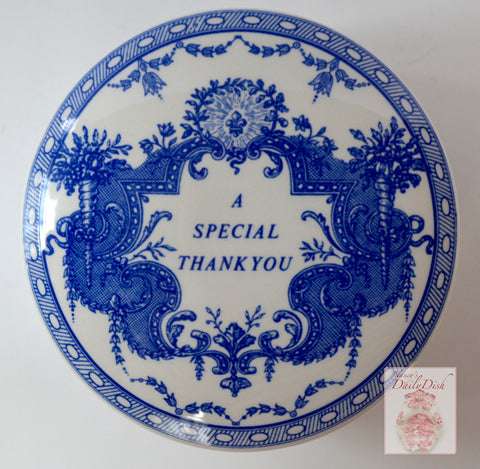Spode Blue Transferware Gift Box Trinket Box Candy Dish A SPECIAL THANK YOU Mementos