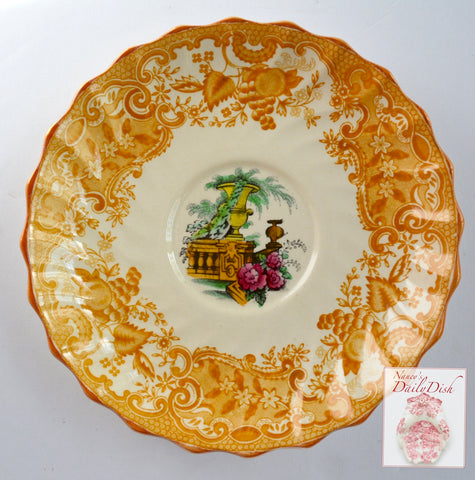 Spode Copeland May Urn Roses Italian Garden Scenery Yellow Black Two Color Transferware Saucer Plate