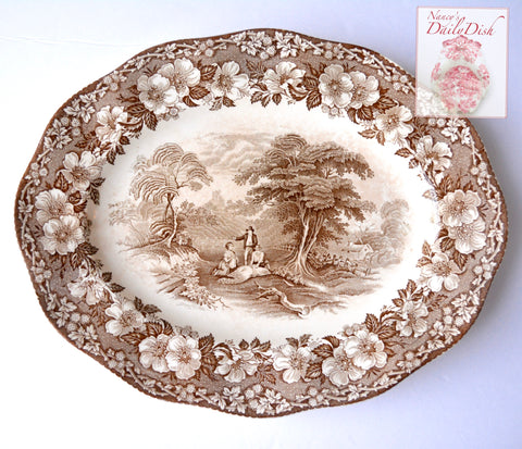 Vintage Brown Romantic Transferware Platter Wedgwood Gathering Hay Plentiful Harvest Roses Pastoral Farm