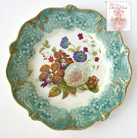 Antique Teal Transferware Plate Country French Botanical Floral Bouquet Peonies Cornflower Phlox Hand Painted