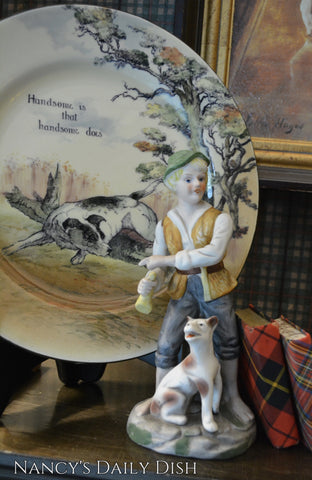 Vintage Country French Figurine Boy and His Dog