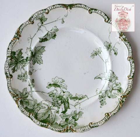 Antique Green English Transferware Plate w/ Ivy Grapes & Vines circa 1891
