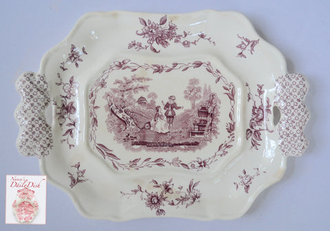 Mason's Romantic Purple Aubergine Tab Pierced Handled Transferware Tray Underplate
