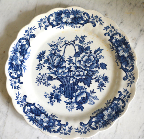 Vintage Blue Transferware Floral Toile Plate Basket of Roses and Flowers English Ironstone