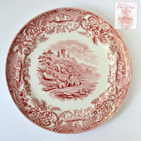Rare Antique English Red Transferware Charger / Plate Pastoral Grazing Sheep Scrolls Castle