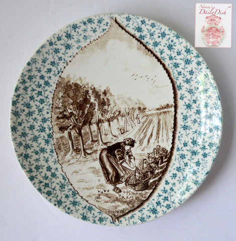 Antique Bi Color Teal Blue & Brown Transferware Plate Cherry Leaf Inset French Picking Cherries CERISIER