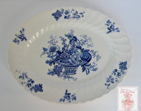 Bountiful Fruit & Flowers Vintage English Blue & White Transferware Platter Basket of Fruits & Flowers