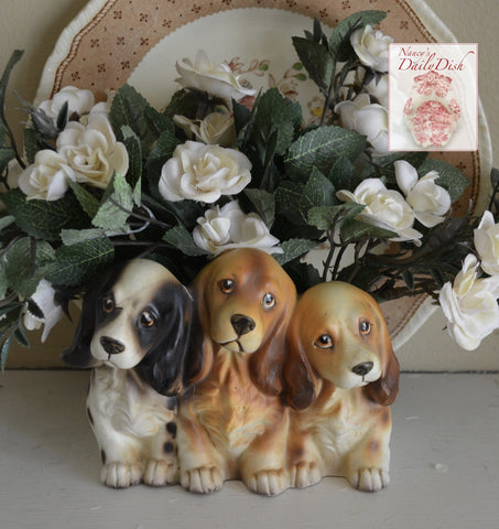 Vintage English Cocker Spaniel Puppy Dog Trio Figurine Planter Flower Pot