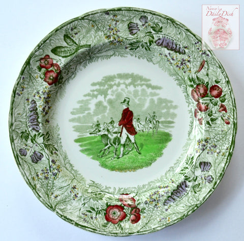 RARE Green Polychrome Transferware Plate English Hunt Scene by Spode Copeland Field Sports