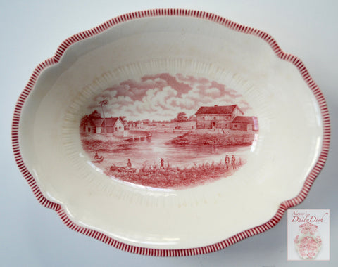 Historical Red Transferware Serving Bowl - The Forks - A Century of Progress World's Fair