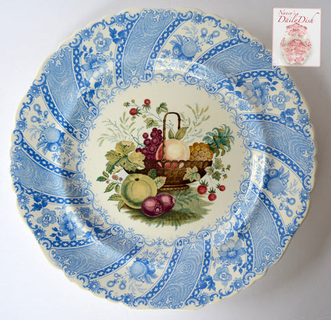 STUNNING & VERY RARE William Smith & Co ' WEDGeWOOD ' Fruit Basket Multi Blue Faux Bois Light Blue Polychrome Transferware Plate