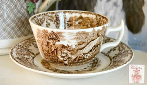 Rural Scenes Brown Transferware Teacup & Saucer Pastoral Mother Child Farm Cows