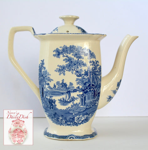 Adams Blue Transferware Teapot Tea Pot with Romantic Chinoiserie Pagoada Boat & Florals