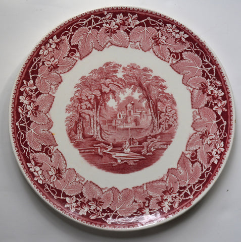 Masons Vista Red Transferware Chop Plate Round Platter Dog Park Couples Staffordshire China