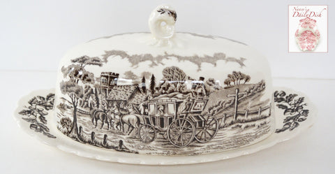 Dark Brown Transferware Covered Butter Dish Horses Stream Trees