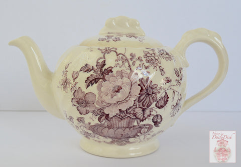 Vintage Royal Staffordshire Lavender Purple Transferware Teapot English Tea Pot Charlotte Victorian Basket of Flowers