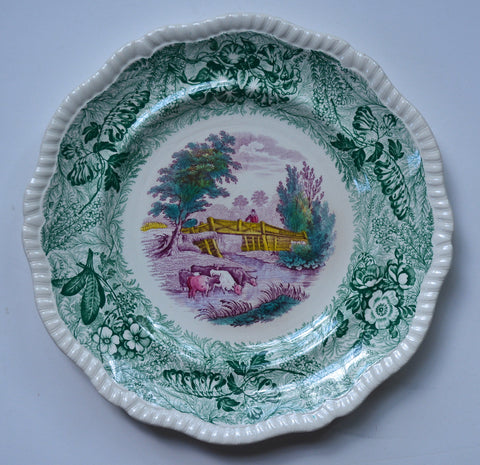 RARE Teal Green & Purple Transferware Plate Charger Spode Copeland Field Sports Grazing Cows in Stream Rural Scenes