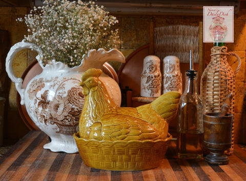 Vintage French Country Hen & Chick on Nest Golden Honey Glaze Finish Egg Basket Tureen England