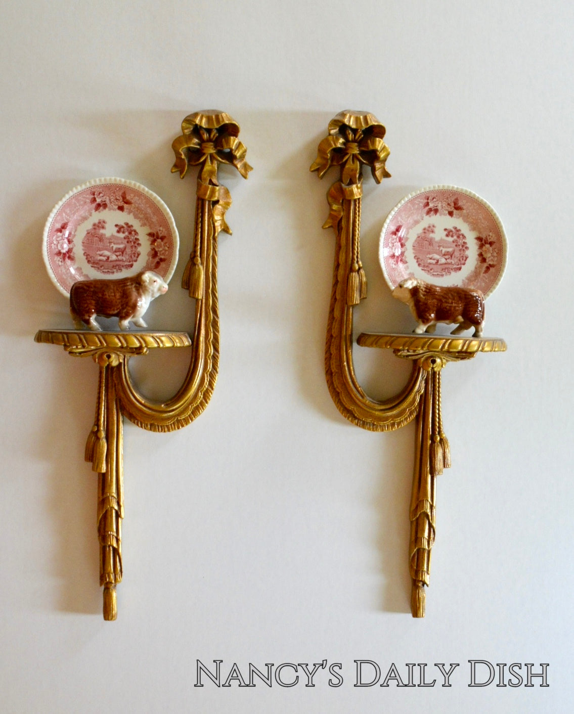 Vintage Pair Left Right Swagged Ribbon Wall Sconce Shelf Gilt Gold O