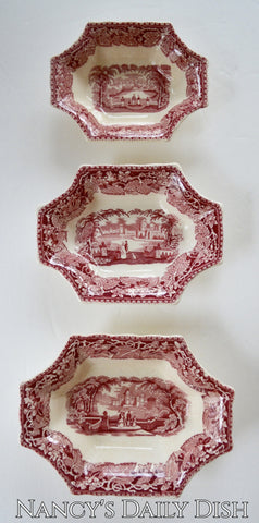 Set of 3 Graduated Sizes Red Toile Transferware Masons Vista 8 Sided Trinket Candy Dish or Relish Bowl