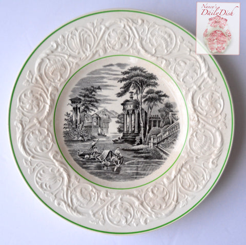 Antique Wedgwood Black Transferware Plate Italian Country Fishing Scenes Embossed Sunflower Border