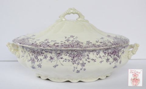 Antique Purple Lavender Transferware Dual Handled Covered Serving Dish Casserole Trailing Flowers