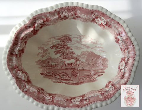 Vintage Farmhouse Animals Red Transferware Platter Horses Sheep Cattle Billy Goat in Pasture