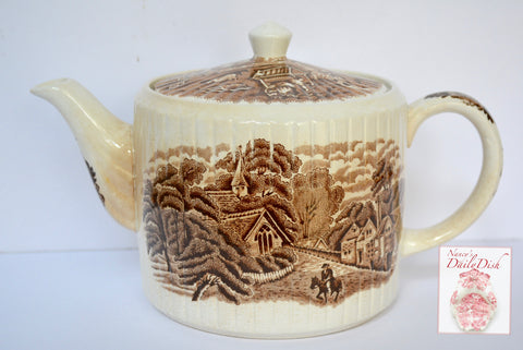Brown Transferware Teapot English Scenery Church Roses Boy on Horseback Water Well