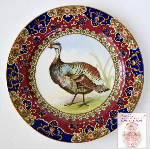 Antique Royal Doulton Clobbered Transferware Wild Turkey Plate Game Bird