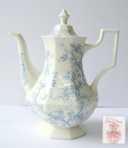 Antique Staffordshire Tall Teapot Light Blue Transferware Coffee Pot Delicate Vines & Flowers