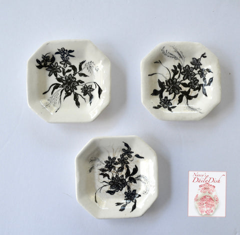 Set of 3 Antique Black  & White Aesthetic Movement  Butter Pats or Salt Dip