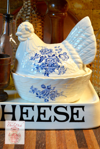 Vintage Blue Transferware English Ironstone Nesting Hen Lidded Egg Basket Tureen Floral Toile Charlotte