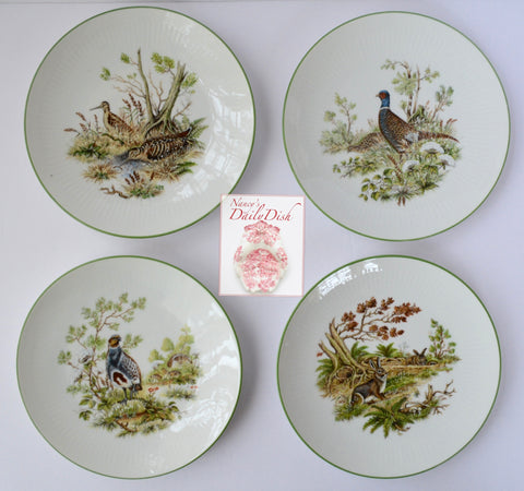 Set of 4 Vintage Bavarian Woodland Game Animal Bird Plates Hand Painted Rabbits Quail Snipe Pheasant