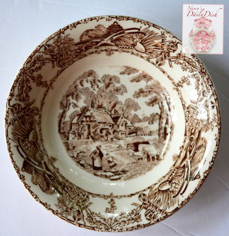 Brown TRANSFERWARE Bowl Candy Dish Trinket Dish Mother Child Cows Lamb Farm Rural Scenes