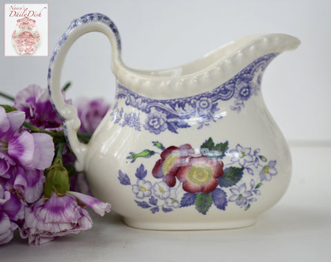 Vintage Spode Mayflower Periwinkle Purple  / Lavender Transferware Creamer Pitcher Hand Painted Pink Flowers