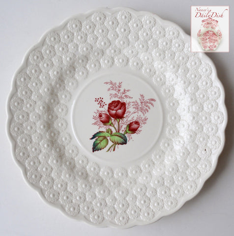 Spode Copeland Red Transferware Rose Bud Plate Exquisite Relief Daisy Lace Border