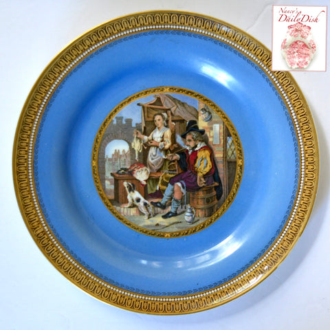 Antique Peasants & Dog Prattware Brown Transferware Plate Gilt & Blue Border