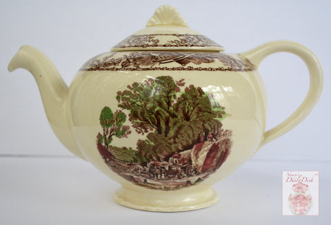 RARE Vintage Brown English Transferware Teapot Rural Scenes