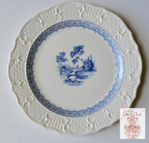 Vintage China Light Blue Transferware Creamware Plate Embossed Border Romantic Stroll Over Bridge