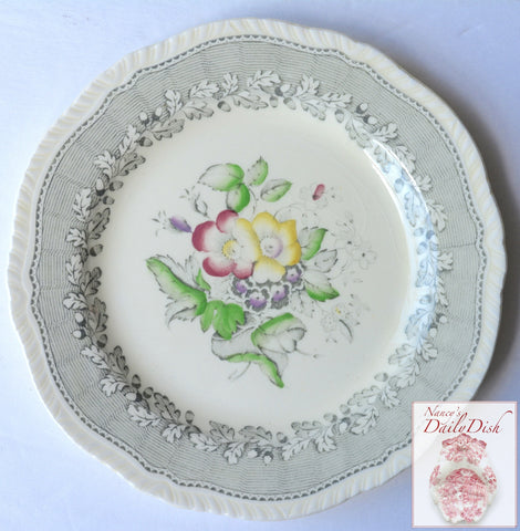 Rare Vintage Gray Transferware Plate w/ Hand Painted Flowers & Roses Ridgway