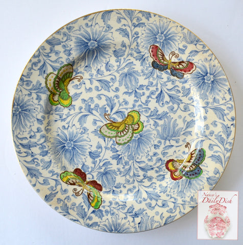 Bi Color Antique Aesthetic Movement Blue & Brown Butterflies & Flowers Transferware Plate Royal Doulton