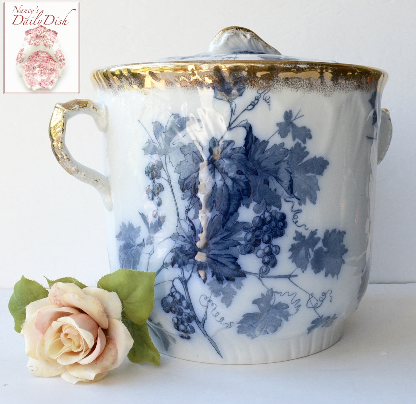 Antique Victorian Staffordshire Aesthetic Flow Blue Transferware Dual  Handled Floral Planter  Urn   Waste Bucket Slop Pail Lustre Gold Finish. Antique Staffordshire Slop Pail Teal Transferware Dual Handled 3