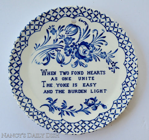 Romantic Love Blue Floral Toile Transferware Plaque English Ironstone When Two Hearts Unite
